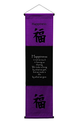 Large Cotton Scroll Inspirational Quotes Wall Hangings Happiness Wall Decor Art Affirmation Motivational Banner (Purple)