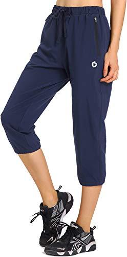 Womens Lightweight Jogger Capri Pants Quick Dry Workout Running Capris Sun Protection UPF 50+ Zipper Pockets Navy