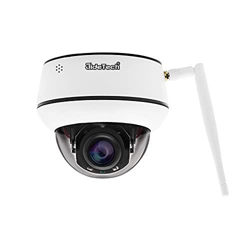 5MP WiFi PTZ Cámara de videovigilancia IP 4x zoom óptico detección de movimiento 65 pies de visión nocturna IP66 2 canales de audio H.265 vigilancia a prueba de agua Ranura para tarjeta SD de 128G
