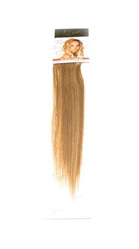 1st Lady soyeux droites Naturel européen 3 pcs extension de cheveux humains à clipser avec Premium Blend, numéro P12/16, brun Caramel/blond clair, 45,7 cm 28 g