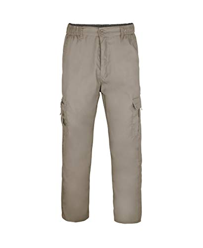 KRISP Pantalon Homme Cargo Militaire Poches Clasique Confortables Coton, Taupe (3320), M, 3320-TAU-M