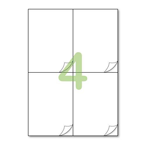 Gluetack – Etiquetas Adhesivas 148'5 x 105 mm (A4) – Papel De Pegatina Para Imprimir Con Adhesivo Superpermanente – 200 Folios Adhesivos – 4 Etiqueta Por Hoja – 800 Etiquetas