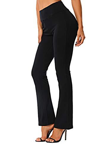FITTOO Damen Bootcut Yogahosen Straight-Bein-Jogginghose Ausgestelltem Bein Yoga Hose Schwarz L