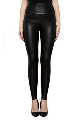 Sodacoda Damen Sexy Kunst-Leder Leggings - Hohe Taille Wet-Look (Matt Schwarz, M)