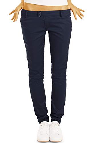 bestyledberlin BE Styled Damen Chinos - Stoffhosen, röhrige hüftige Passform, mit Stretch h15a 36/S Marineblau