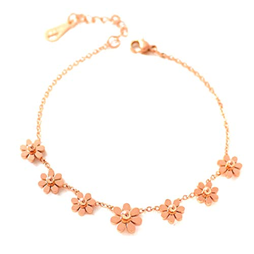 SUNSKYOO Rose Gold Daisy Blume Fußkettchen Fußkette Knöchel Armbänder Strand Barfuß Sandalen Schmuck