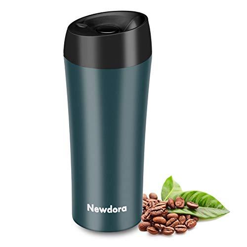 Newdora Thermobecher - 380ml Kaffeebecher to go, Edelstahl Isolierbecher, Reisebecher, BPA-Frei, hält 5h heiß/ 9h kalt, 100% dicht, auslaufsicher, Easy Quick-Press-Verschluss (Navy)