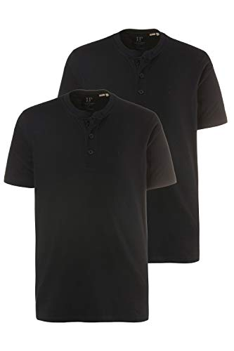 JP 1880 Herren große Größen bis 7XL, T-Shirt im Doppelpack, Henley-Shirt, Rundhalsausschnitt, Knopfleiste, schwarz, schwarz 3XL 708420 10-3XL