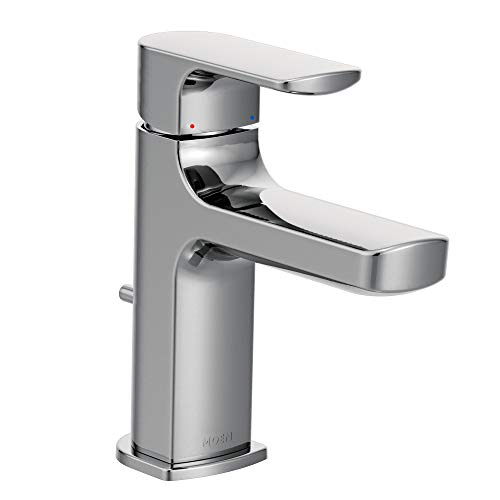 Moen 6900 Rizon One-Handle Modern Bathroom Faucet with Drain Assembly, 1 count, Chrome