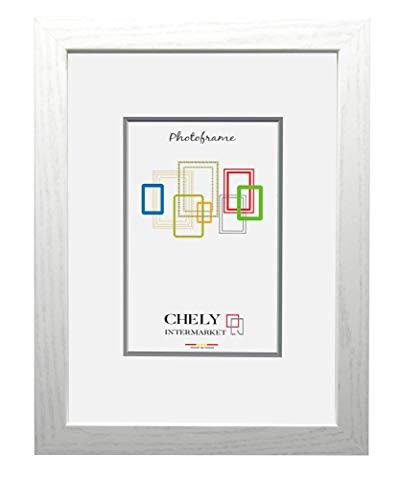 Chely Intermarket, Marco de Fotos de Madera 50x70 cm (Blanco) MOD-272| Estilo galería | Marco de Madera de Pino para Decoración de Casa | Fotografías de Boda | Listado de Precio | moldura con Relieve