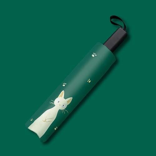 MAWA Nuevo Paraguas Automático Lluvia Mujer Precioso Gato Paraguas Plegables A Prueba de Viento Revestimiento Negro Anti UV Parasol Mujer Paraguas Chica - Tres-Plegables, a2