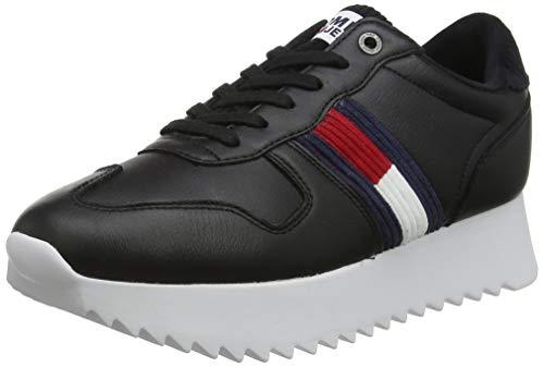 Tommy Hilfiger High Cleated Seasonal Sneaker, Zapatillas para Mujer, Black Bds, 38 EU