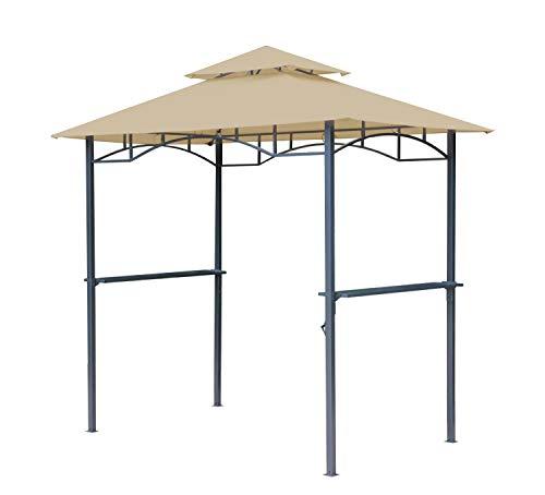 GRASEKAMP Qualität seit 1972 BBQ Grillpavillon 1,5x2,4m mit Flammschutzdach und Abzug Sand Unterstand Gazebo