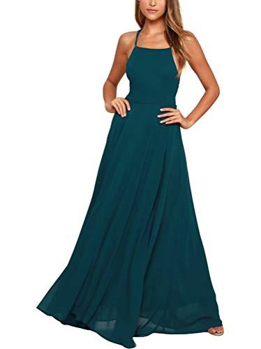 Damen Grün Halter A-Linie Chiffon Abendkleid Elegantes Langes Rueckenfrei Kleid...