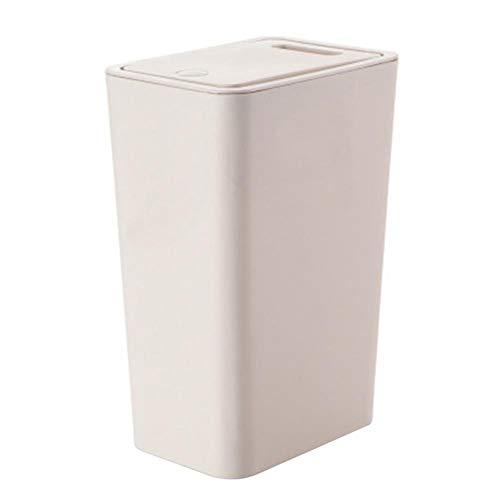 Sundos Bote de Basura Tipo Empuje de habitación Simple para baño, Cocina, Oficina, etc.Bote de Basura (de Color Crema)