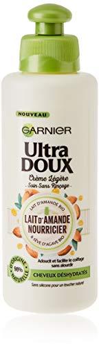 Garnier Ultra Doux Lait d'Amande Nourricier Crème Légère sans Rinçage pour Cheveux Déshydratés 200 ml