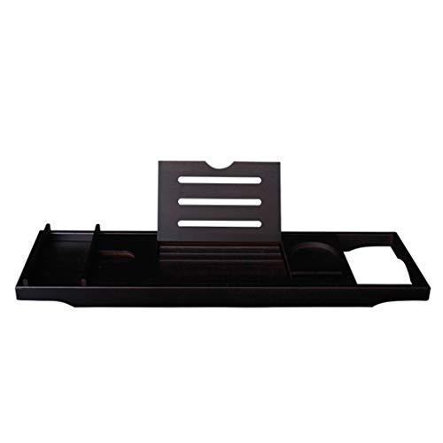 16LYP Bañera de pie Antideslizante bañera de pie Soporte de bañera bañera telescópica Ajustable de bambú y el Estante del baño Bandeja de bañera de Madera (Color : Black, Size : Double Tray)