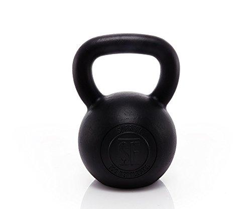 Suprfit Econ Kettlebell - Kugelhantel aus Gusseisen fürs Krafttraining und Cross Training, Gewicht: 28 kg, Schwunghantel geeigent zum Reißen, Stoßen und Drücken, Schwarz lackiert