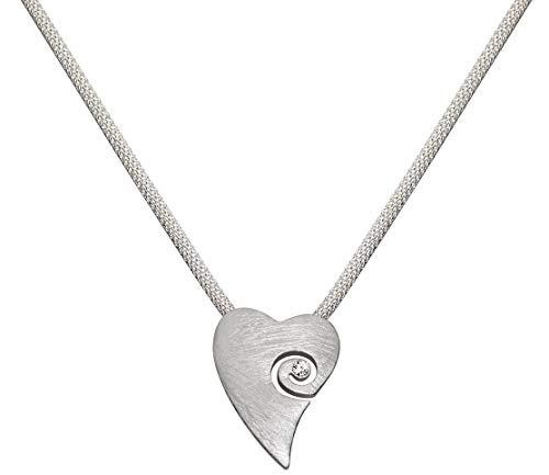 Perlkönig   Damen Frauen   Kette mit Herz   Silber Gebürstet   Glitzer Steine   Nickelabgabefrei