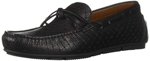 Aquatalia Men's Brian LGE Woven EMBOS CLF Driving Style Loafer Black 7 M US