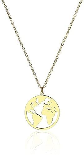 banbeitaotao Collar Collar Mapa del Mundo Collar Globo Tierra Continente Collares Pendientes Mapa de Viaje Minimalista Simple Joyas de trotamundos Regalos de año sabático