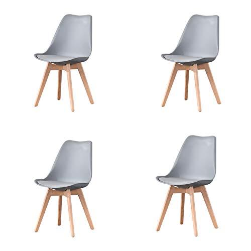 Juego de 4 sillas de comedor clásicas clásicas nórdicas de cuero con patas de madera maciza para muebles de hogar y oficina comercial (gris)