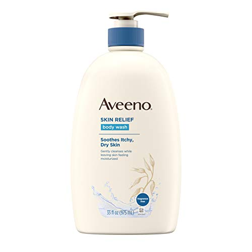 Aveeno Skin Relief Fragrance-Free Body Wash with Oat to Soothe Dry Itchy Skin, Gentle, Soap-Free & Dye-Free for Sensitive Skin, 33 Fl Oz