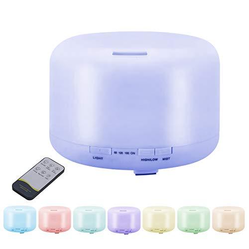 JORSHIMAN Humidificador Ultrasónico de Aire, Difusor de Aromas, difusor de Aire con luz LED - 500 ml, Control Remoto, 7 Colores reemplazables Que se Pueden Usar en dormitorios, hogares y oficinas