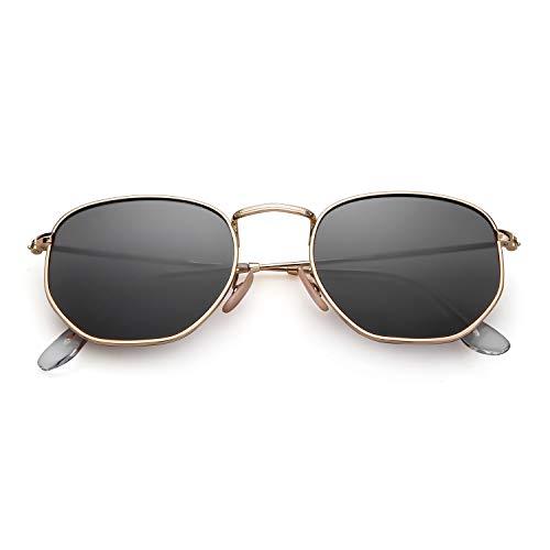 ADEWU Gafas de sol cuadradas polarizadas con lente espejada y marco hexagonal unisex