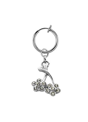 Lau-Fashion Illusion test navelpiercing kersen fake clip dames klem zilveren ring Ø 13mm