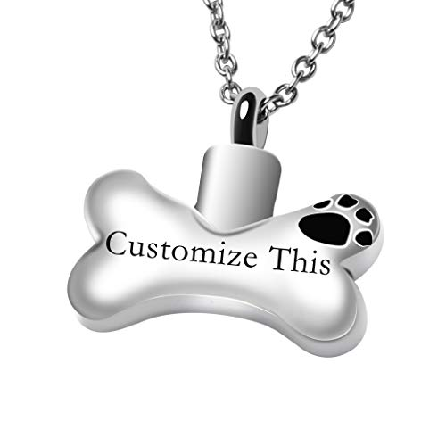 Fanery Sue Dog Bone Personalized Custom Cremation Jewelry Urn Necklace for Ashes Keepsake Dog Cat Pet Memorial Pendant(Silver Engraving)