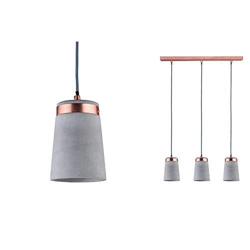 Paulmann 79626 Neordic Stig Pendelleuchte max. 3x20W Hängelampe für E27 Lampen Deckenlampe Grau/Kupfer matt 230V Beton/Metall ohne Leuchtmittel, 3er-Pendel