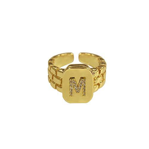 DGSDFGAH Anillo Mujer M Ring Hip Hop Reloj De Anillo con Letra AZ De Oro Ajustable con Correa Cuadrada Anillo Inicial De Mujer para Hombre
