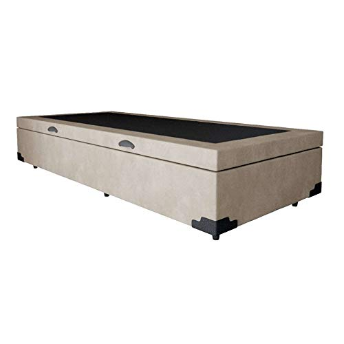 Base para Cama Box Solteiro Martin Premium com Baú Suede (45x88x188) Bege