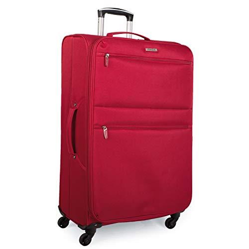 ITACA - Maleta de Viaje Grande Blanda 4 Ruedas Trolley 77 cm poliéster eva. Extensible y Ligera. Mango Asas. Gran Capacidad. Estudiante y Profesional. i52770, Color Rojo