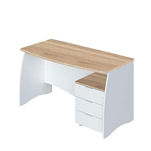 Mesa de Despacho con 3 Cajones, mesa de Oficina o Estudio, Modelo Stil, Acabado en Blanco Artik y Roble Canadian, Medidas: 136 cm (Largo) x 67 cm (Ancho) x 74 cm (Alto)