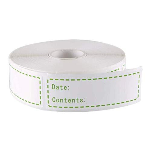 BLOUR 500 Stück/Rolle Selbstklebende Aufbewahrungsetiketten für Lebensmittel Aufkleber für Behälter Flaschenglas Verpackung Gefrierschrank Etiketten Aufkleber Datumsetiketten Weiß
