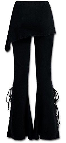 Zwarte Flared Broek Mini Rok Combo Flares Leggings 10 12 14 16 S M L XL Goth