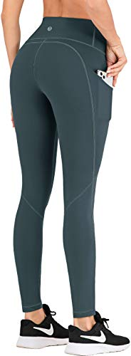 IUGA Leggings with Pockets for Women High Waisted Yoga Pants for Women Butt Lifting Workout Leggings for Women with 4 Pockets (Dark Green, Large)