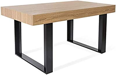 IDMarket - Table à Manger Phoenix 6 Personnes Bois et Noir 160 cm