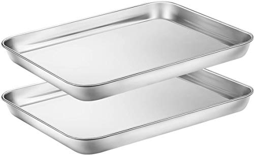 Baking Sheets Set of 2, Stainless Steel Baking Pans & Toaster Oven Tray Pans, Rectangle Size 12.2Lx9.5Wx1H inch & Non Toxic & Healthy & Easy Clean
