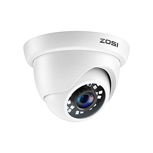ZOSI 2.0MP 1080P 1920TVL Hybrid 4-in-1 TVI CVI AHD CVBS Security Surveillance CCTV Dome Camera, Weatherproof 80ft IR Day Night Vision For 960H,720P,1080P,5MP,4K analog Surveillance DVR (White)