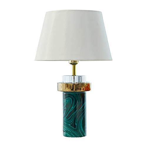 Lámpara de mesa Shade Lámpara de mesa de cerámica ágata verde de la textura de cabecera del arte lámpara de mesa tela blanca tambor for sala de estar dormitorio de noche Mesilla de noche Family Office