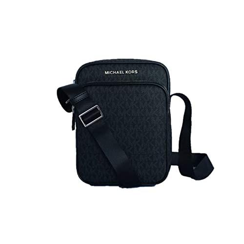 Michael Kors Jet Set Travel Signature PVC Medium Flight Bag Crossbody – Black