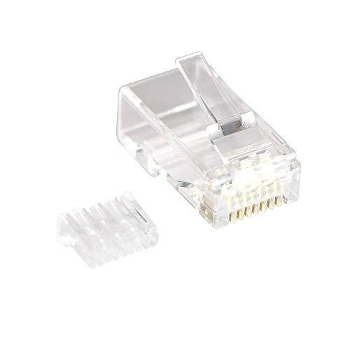 VCE 50 Unidades RJ45 Conecotor para Cable Cat6 Compatible con Cat5E Cat5 8P8C Sólido y Trenzado de Ethernet