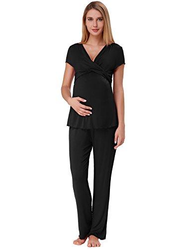 Zexxxy Damen Umstandspyjama Kurzarm Stillen Shirt und Lang Hosen Stillpyjama Mutterschaft Schlafanzüge Schwarz XL