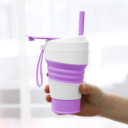 ウォーターボトルATiC折りたたみ水筒シリコンエコボトルドリンクボトルシリコンボトル伸縮性携帯コップポケットカップ防漏450ml水分補給省スペースアウトドアスポーツ登山キャップランニングジム用purple