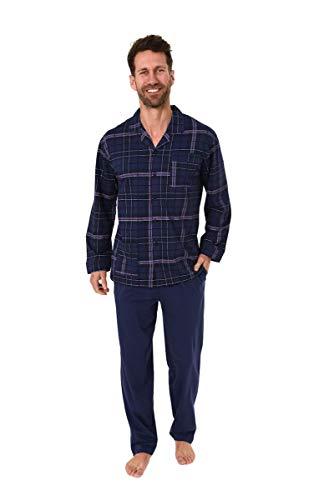 Unbekannt Herren Pyjama, Durchgeknöpft, Karo, Marine, 61634, Gr. 52