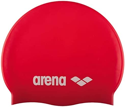 Arena Classic Youth Silicone Unisex Swim Cap for Boys and Girls Red White One Size product image