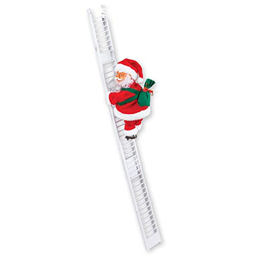 Collections Etc Singing Santa Climbing Ladder with Bag of Presents, Indoor Christmas Decoration - Sings Jingle Bells